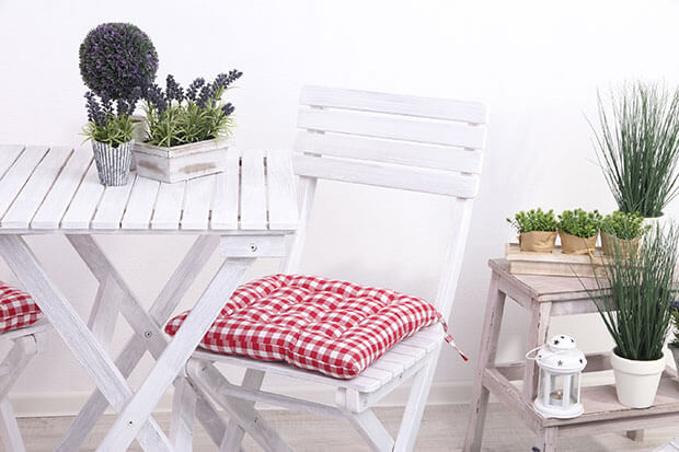 White wooden garden furniture